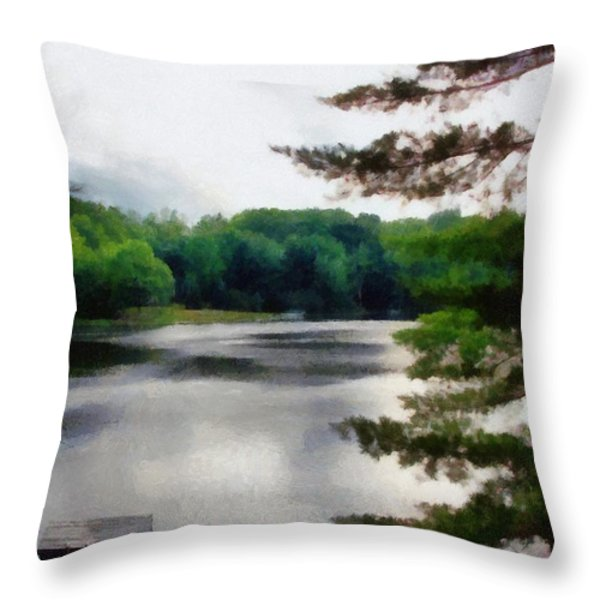 The Swimming Dock Throw Pillow by Michelle Calkins