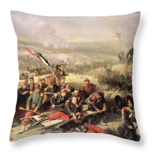 The Taking Of Malakoff Throw Pillow by Adolphe Yvon