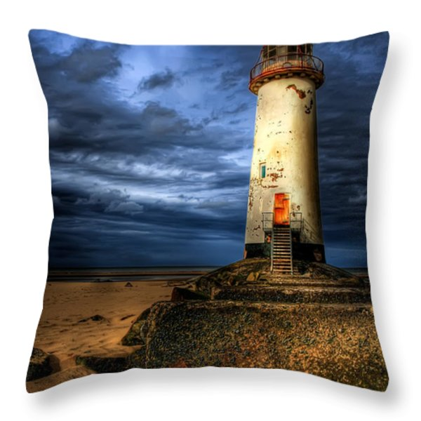 The Talacre Lighthouse Throw Pillow by Adrian Evans