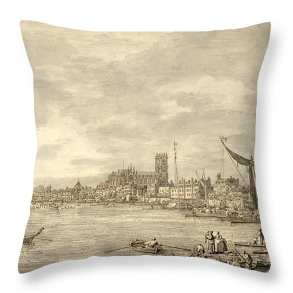 The Thames Looking Towards Westminster From Near York Water Gate  Throw Pillow by Giovanni Antonio Canaletto
