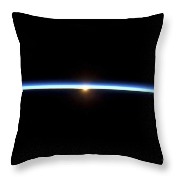 The Thin Line Of Earths Atmosphere Throw Pillow by Stocktrek Images