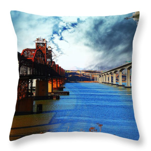 The Three Benicia-martinez Bridges . A Journey Through Time Throw Pillow by Wingsdomain Art and Photography