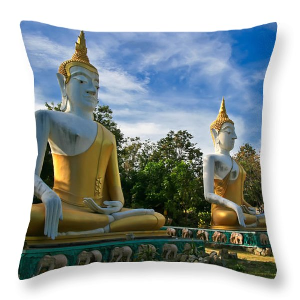 The Three Buddhas  Throw Pillow by Adrian Evans