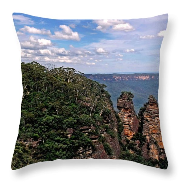 The Three Sisters - The Blue Mountains Throw Pillow by Kaye Menner