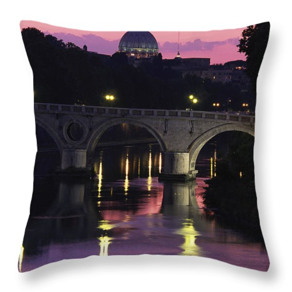 The Tiber River And The Dome Of St Throw Pillow by Richard Nowitz