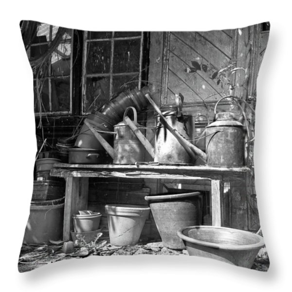 The tool Shed Throw Pillow by Brian Roscorla