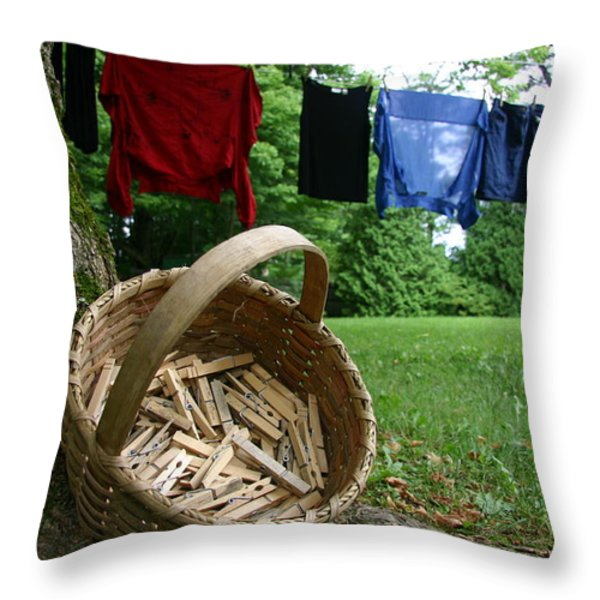 The Traditional Approach To Washday Throw Pillow by Stephen St. John