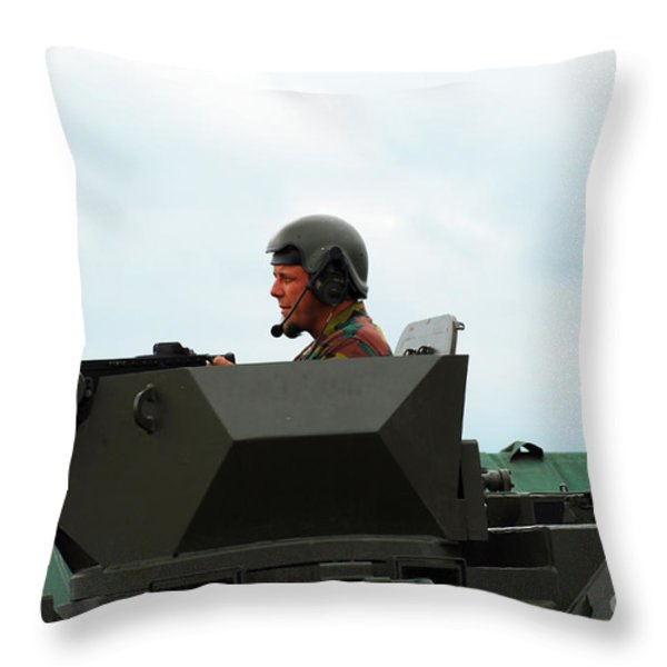 The Turret Of A Pandur Wheeled Armoured Throw Pillow by Luc De Jaeger