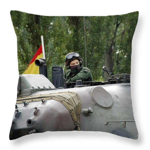 The Turret Of The Leopard 1a5 Mbt Throw Pillow by Luc De Jaeger
