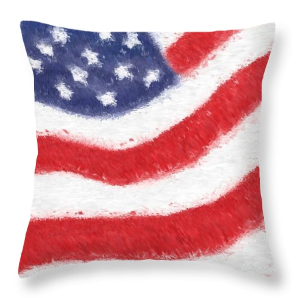 The United States Flag Throw Pillow by Heidi Smith