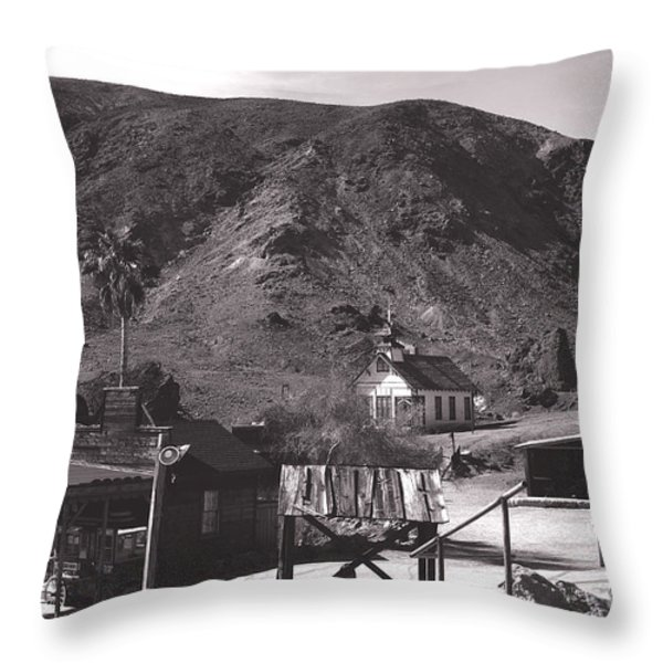 The Upper Village of Calico Ghost Town Throw Pillow by Susanne Van Hulst