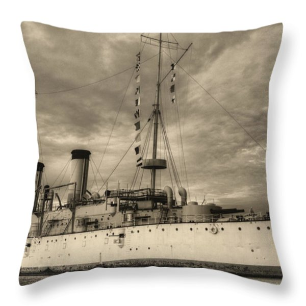 The USS Olympia Black and White Throw Pillow by JC Findley