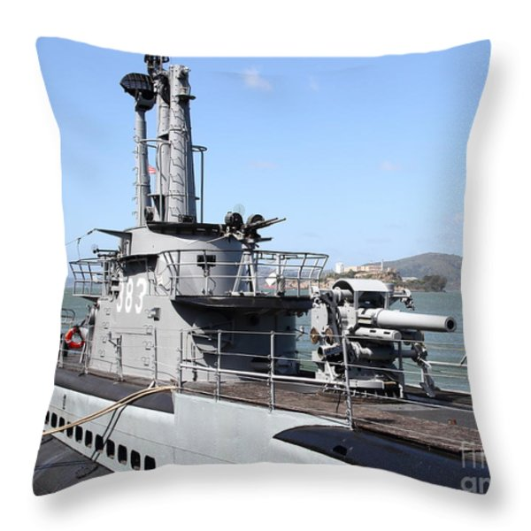 The Uss Pampanito Submarine At Fishermans Wharf With Alcatraz In The Distance.san Francisco.7d14420 Throw Pillow by Wingsdomain Art and Photography