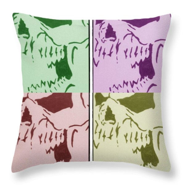 THE VAMPIRE SKELETON Throw Pillow by Robert Margetts