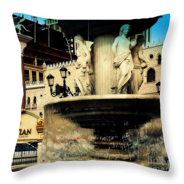The Venetian Fountain In Las Vegas Throw Pillow by Susanne Van Hulst