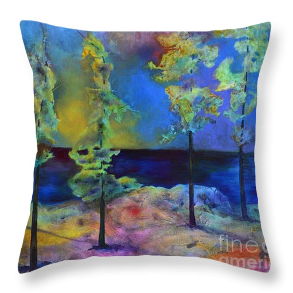 The View Throw Pillow by Claire Bull
