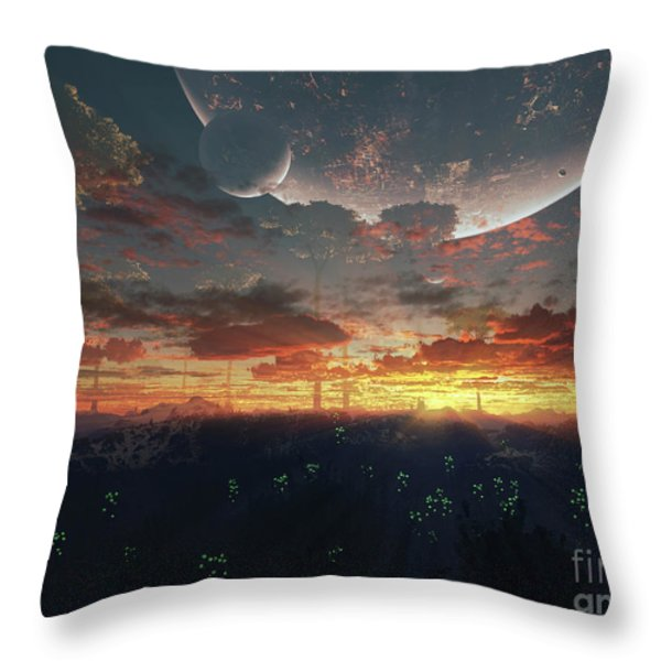 The View From An Alien Moon Towards Throw Pillow by Brian Christensen