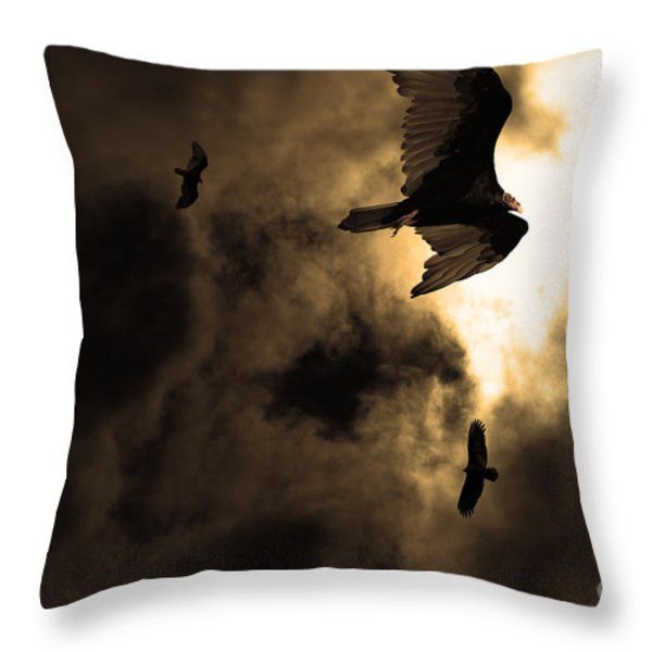The Vultures Have Gathered In My Dreams . Version 2 . Golden Throw Pillow by Wingsdomain Art and Photography