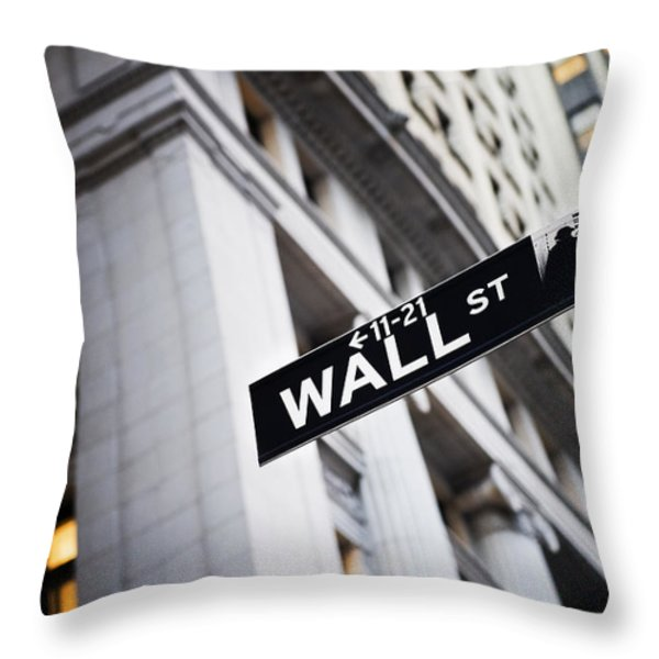 The Wall Street Street Sign Throw Pillow by Justin Guariglia