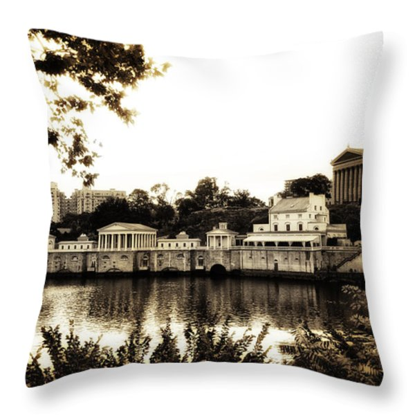 The Waterworks in Sepia Throw Pillow by Bill Cannon