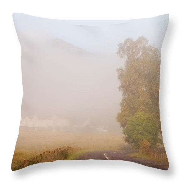 The Way To Never Never Land. Misty Roads Of Scotland Throw Pillow by Jenny Rainbow