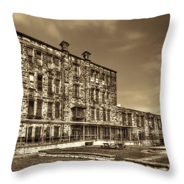 The West Virginia State Penitentiary Backside Throw Pillow by Dan Friend