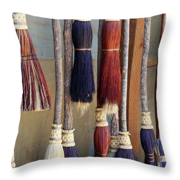 The Witches Brooms Throw Pillow by Enzie Shahmiri