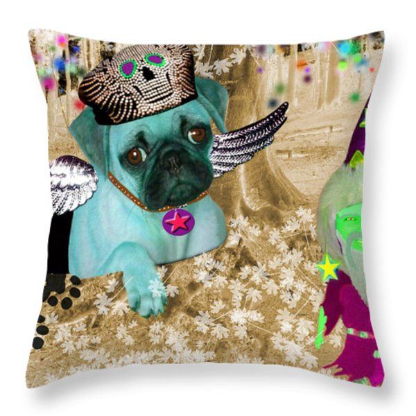 The Wizard Gnome of the forest Throw Pillow by Tisha McGee
