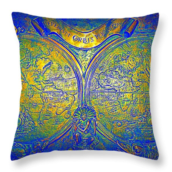 The World Throw Pillow by Randall Weidner