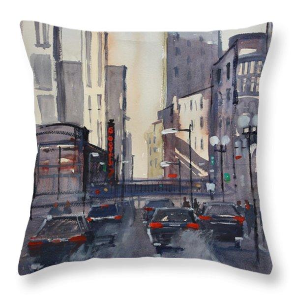 Theatre District - Chicago Throw Pillow by Ryan Radke