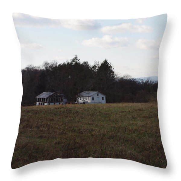 These Old Barns Throw Pillow by Robert Margetts