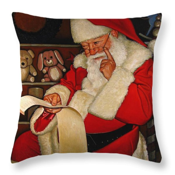Thoughtful Santa Throw Pillow by Doug Strickland