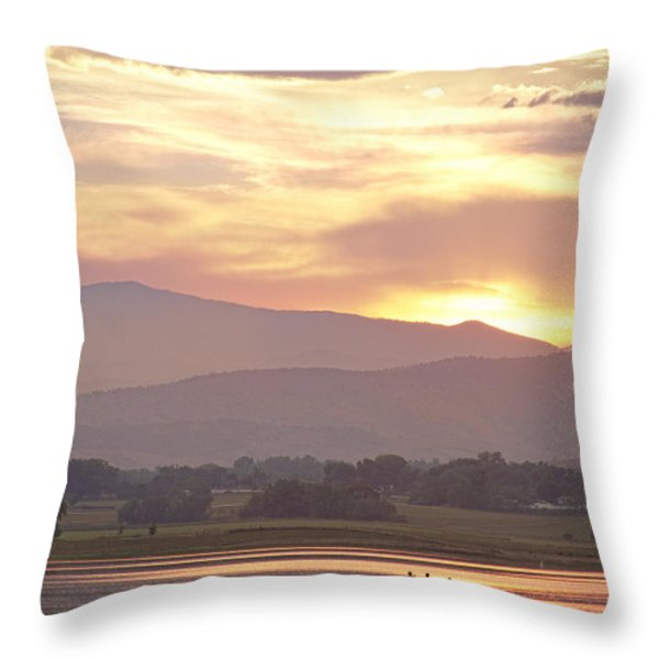 Three Belly Boats Golden Scenic View Throw Pillow by James BO  Insogna