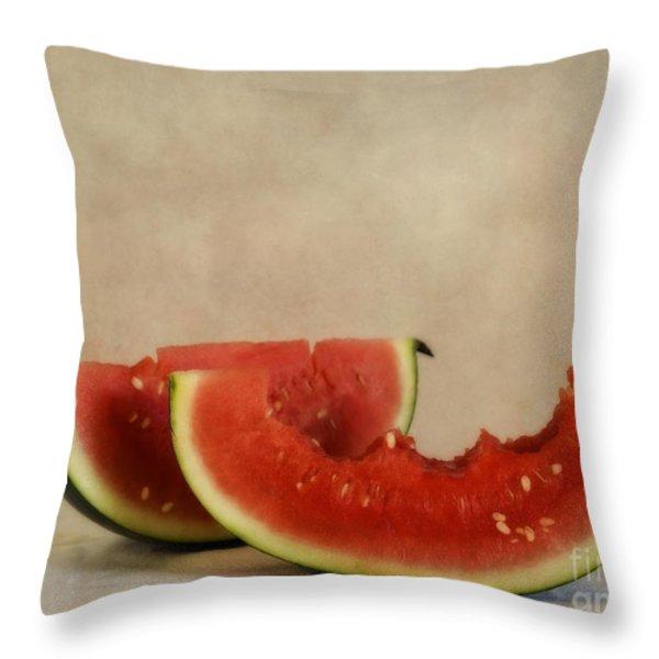 Three Bites Of Summer Throw Pillow by Priska Wettstein