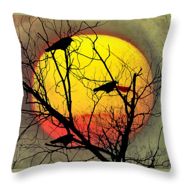 Three Blackbirds Throw Pillow by Bill Cannon