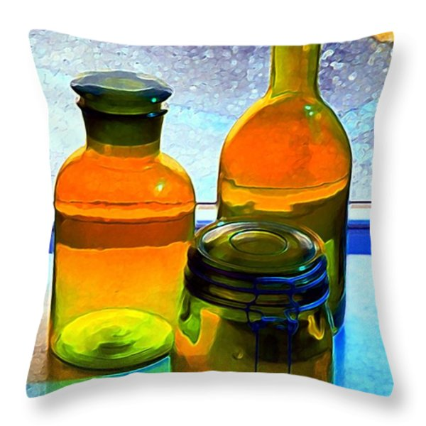 Three Bottles In Window Throw Pillow by Dale   Ford