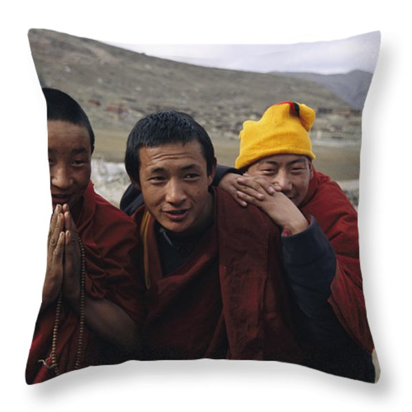 Three Buddhist Lamas In Gansu Province Throw Pillow by David Edwards