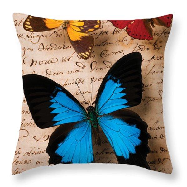 Three butterflies Throw Pillow by Garry Gay