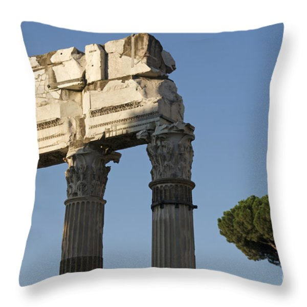 Three columns and architrave Temple of Castor and Pollux Forum Romanum Rome Throw Pillow by BERNARD JAUBERT