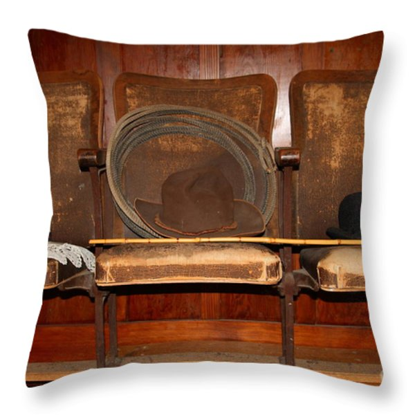 Three Hats A Lasso And A Cane At The Old Movie Theater . 7D12726 Throw Pillow by Wingsdomain Art and Photography