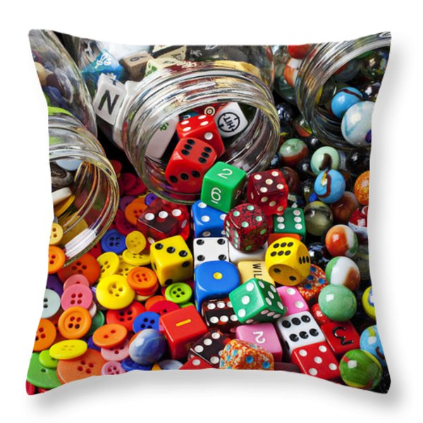 Three Jars Of Buttons Dice And Marbles Throw Pillow by Garry Gay