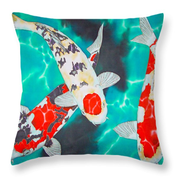 Three Koi Throw Pillow by Daniel Jean-Baptiste