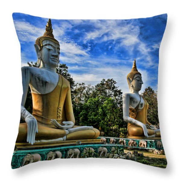 Three of a kind Throw Pillow by Adrian Evans