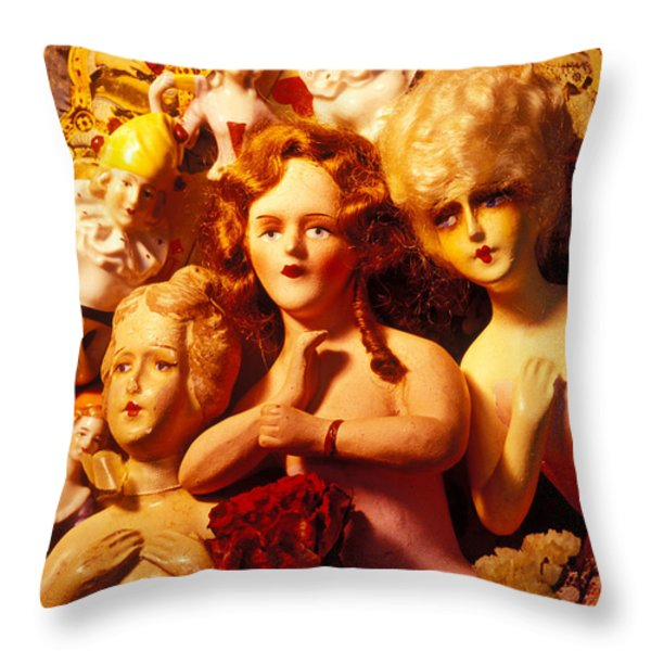 Three Old Dolls Throw Pillow by Garry Gay