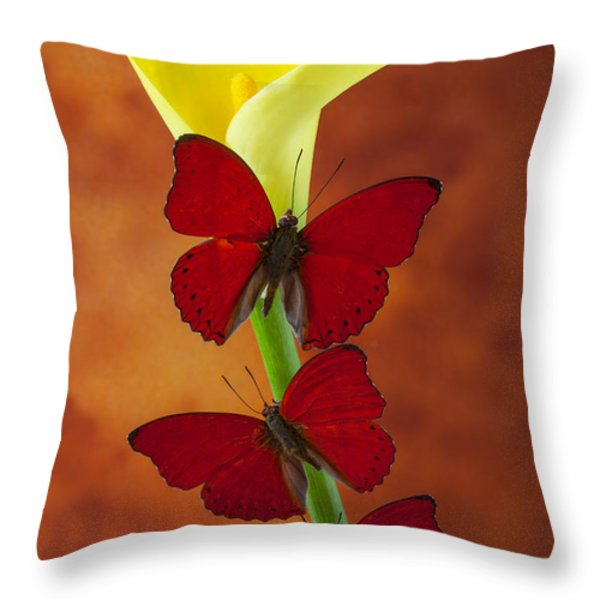 Three red butterflies on calla lily Throw Pillow by Garry Gay