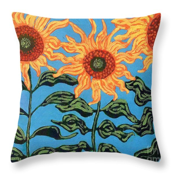 Three Sunflowers II Throw Pillow by Genevieve Esson