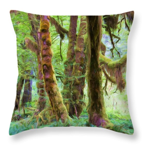 Through Moss Covered Trees Throw Pillow by Heidi Smith