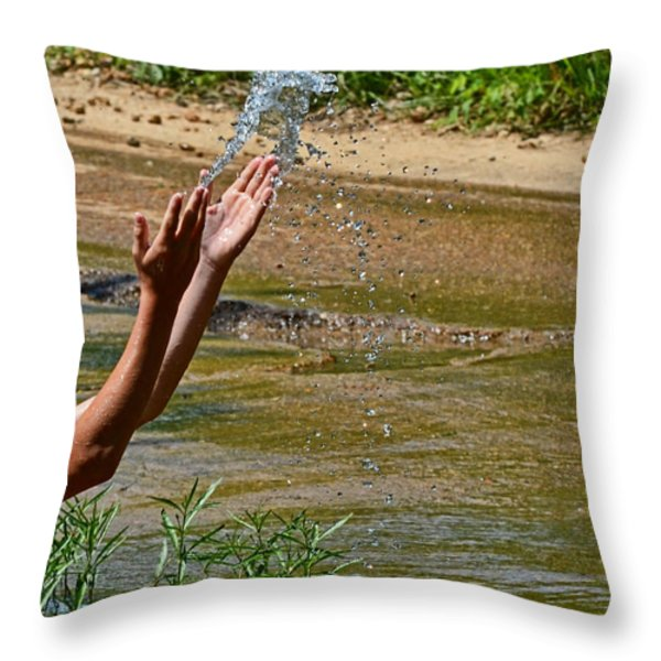 Throwing Water I Throw Pillow by Debbie Portwood