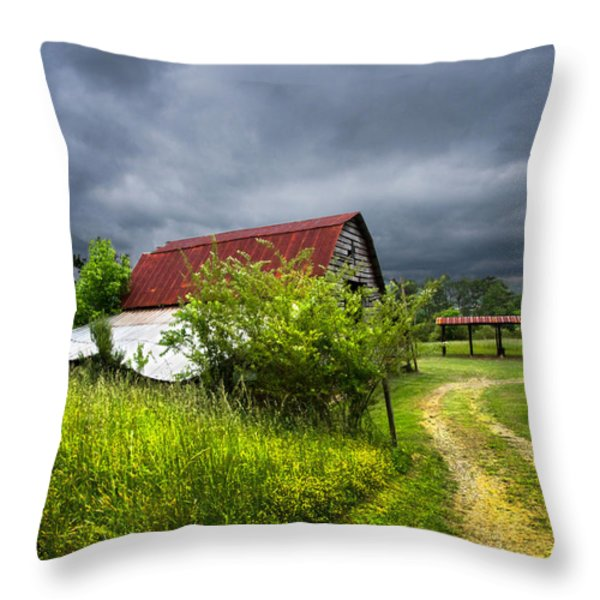 Thunder Road Throw Pillow by Debra and Dave Vanderlaan