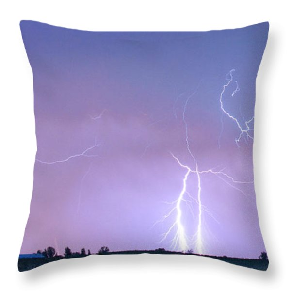Thunderstorm on the Colorado Plains Panorama Throw Pillow by James BO  Insogna